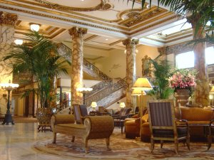 Reminiscent of Hearst Castle, The Fairmont's Gilded Lobby Greets Guests in Style.