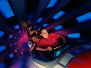 BLAST OFF! -- Rising 183 feet above the futuristic Tomorrowland scenery, Space Mountain has taken millions of Magic Kingdom guests on a thrilling roller coaster ride through the cosmos since it opened at Walt Disney World Resort in 1975.