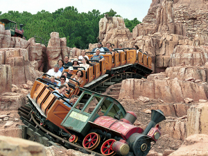 THE WILDEST RIDE IN THE WILDERNESS -- Big Thunder Mountain Railroad takes guests on a wild ride on a runaway mine train in Frontierland at the Magic Kingdom.