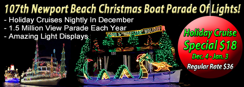 $18 Christmas Boat Parade Offer coupon for Newport Beach Christmas Boat Parade