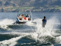 Boating and skiing at Castaic Lake