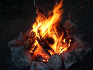 Snuggle up to a campfire at Castaic Lake.